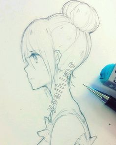anime girl drawing side view faces drawi