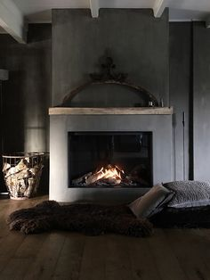 Interior Design Ideas and Home Decor Inspiration Concrete Fireplace, Home Fireplace, Bedroom Fireplace, Fireplace Design, Fireplace Mantels, Fireplaces, Basement Fireplace, Fireplace Inserts, Mantles