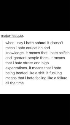 sorry for the bad language but this is too true therefore I have to pin it. it explains exactly how I feel about school. Mood Quotes, True Quotes, I Hate School, Hate School Quotes, School Memes, I Can Relate, Funny Relatable Memes, Just For You, Thoughts