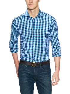 Linen Plaid Sportshirt by Luciano Barbera at Gilt