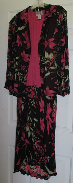 Fashion Trend Bold Floral on Black Background 3 Piece Rayon Outfit Style&Co Sz10 | eBay