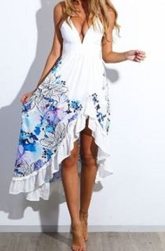 Love Love Love this Dress! Blue and White Spaghetti Strap Sleeveless Floral Print Low Cut Women's Dress