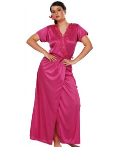 5ec2c4ed5c Women Satin Dark Peach Nighty with Robe Nightwear Set Robe Gown  nightwear   lingerie