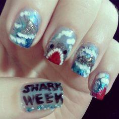 Shark Week by TenTinyCanvases - Nail Art Gallery nailartgallery.nailsmag.com by Nails Magazine www.nailsmag.com #nailart