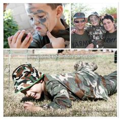Face Paint, Army Crawl, Family Photo. For Quincy's camo/survival/military birthday party.
