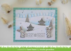 Lawn Fawn - Snow Day + coordinating dies, Forest Border, Stitched Hillside Borders, Snow Day 6x6 paper _ card by Nicole for Lawn Fawn Design Team