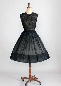 Vintage 1950s Sheer Black Soutache Dress