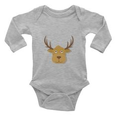 This long-sleeve baby onesie is soft, comfortable, and made of 100% cotton. It's designed to fit infants of all sizes, with a rib knit to give good stretch and a neckband f... #deer