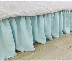 This bed skirt is made up of robin egg dove linen, aesthetically attractive, soft, yet firm, which is what, is desired by everyone. Romantic Master Bedroom, Romantic Room, Romantic Homes, Ruffle Bedding, Linen Bedding, Bedroom Design Inspiration, Linen Shop, Interior Decorating, Interior Design