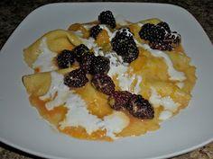Blackberry crepes with creme fraiche
