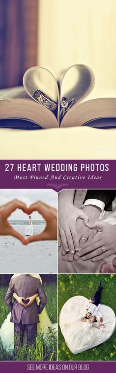 27 Most Pinned Heart Wedding Photos ❤ We propose you to take a look on heart wedding photos. Everybody knows that heart is a symbol of love. But how to nicely include it to photo composition? See more http://www.weddingforward.com/heart-wedding-photos/ ‎#wedding #photography