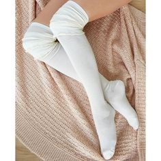 Gina Hoisery Ltd./gina Group  Ruffled Cuff Over-The-Knee Socks (84 NOK) ❤ liked on Polyvore featuring intimates, hosiery, socks, ivory, wet seal, over the knee hosiery, over knee socks, above knee socks, wet seal socks and cuff socks