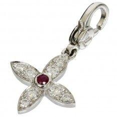 Louis Vuitton 18K White Gold Ruby Diamonds Flower Motif Charm Pendant