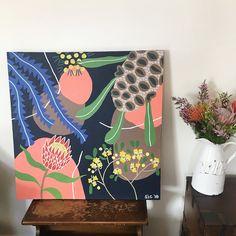 Australian Native flower Painting — Sarah C illustration Plant Painting, Mural Painting, Interior Painting, Painting Flowers, Flower Mural, Flower Artwork, Protea Art, Australian Painting, Australian Artists