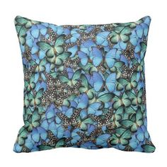 Throw Pillow with Butterflies Pattern - home gifts ideas decor special unique custom individual customized individualized
