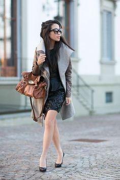 Helmut Lang coat, Armani Exchange top, AllSaints skirt, CL pumps, Mulberry Alexa, Tibi belt, Prada sunnies