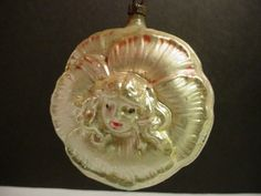 Antique Angel Face Girl German Mercury Glass Christmas Ornament Ball…