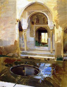 "urgetocreate: ""Joaquin Sorolla y Bastida - Courtyard of Justice, The Alhambra, Granada, 1909 "" Spanish Painters, Spanish Artists, Art Aquarelle, John Singer Sargent, Collaborative Art, Beautiful Paintings, Art Oil, Land Scape, Painting Inspiration"