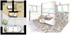 Floor plans kleine Bäder, Vorwandinstallation, Grundriss ändern, Foto: SHK / 100-baeder.de