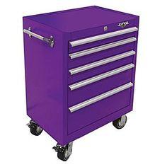 "Viper Tool Storage -26"" 5 Drawer 18G Steel Rolling Cabinet, Purple"