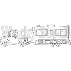 5th Wheel Camper Clip Art | Outlined Man Driving a Pickup Truck ...