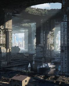 Eternal City. Fantasy Architecture in Digital Art. Click the image, for more art from Inward. Ville Cyberpunk, Cyberpunk City, Arte Cyberpunk, Futuristic City, Futuristic Architecture, Green Architecture, Fantasy City, Fantasy World, Fantasy Landscape