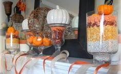 Great idea to use beans and corn for filler--or candy corn! Exciting Fall Mantel Decor Ideas