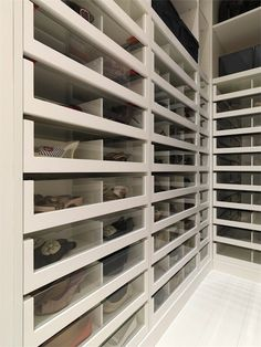 Fabulous closet with acrylic front pull-out shoe cabinets !!