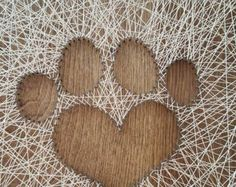 Handmade String Art 2 x Wood, Stain, Nails and Crochet Thread. Made to order. String Wall Art, Nail String Art, Shih Tzu Puppy, Wood Stain, Cub Scouts, Thread Crochet, Kendall, Art Pieces, Craft Ideas