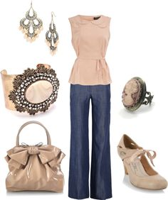 Soft peach w/ slightly Victorian feel. I think this outfit would look even better with black skinnies and a black clutch. too much peach and wide leg jeans are not flattering on petite frames. maybe an edgier shoe too.