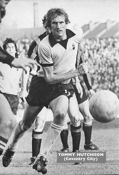 October Coventry City winger Tommy Hutchison in action against Manchester City, at Highfield Road. Coventry City Fc, Big Men, Manchester City, Blues, Action, Football, Sky, Running, 1970s