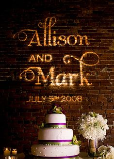 great lighting effect/paint idea on the wall behind the cake