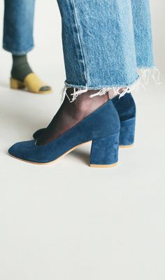 Maryam Nassir Zadeh Denim Suede Maryam Pump & Tan Calf Sophie Slide