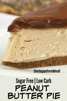 This is the perfect pie for desserts or for a snack. This is the recipe for a great looking and tasting Sugar Free Peanut Butter Pie Sugar Free Deserts, Sugar Free Sweets, Sugar Free Recipes, Keto Recipes, Sugar Free Cakes, Sugar Free Muffins, Sugar Free Snacks, Flour Recipes, Fudge Recipes