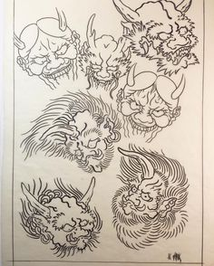 New chinese art tattoo artworks ideas Japanese Drawings, Japanese Artwork, Japanese Demon Tattoo, Russian Tattoo, Japon Illustration, Asian Tattoos, Japan Tattoo, Oriental Tattoo, Irezumi Tattoos