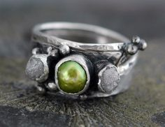 Diamond and Chartreuse Pearl  with Sterling Silver - Custom Made.