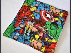 Avengers Comic Cotton with White Terry Cloth Burp Cloth | Geek-a-bye Baby