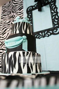 Cake at a Tiffany blue and zebra baby shower #tiffany #babyshower