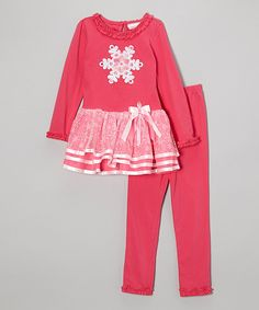 Take a look at this Pink Snowflake Dress & Leggings - Girls on zulily today!
