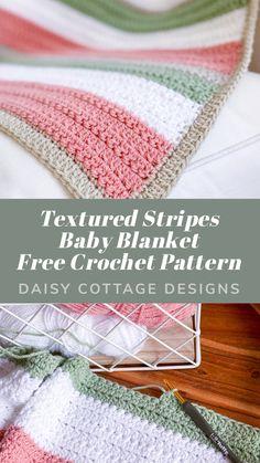 Crochet Baby Blanket Tutorial, Striped Crochet Blanket, Crochet Baby Blanket Free Pattern, Crochet For Beginners Blanket, Baby Knitting Patterns, Easy Crochet Baby Blankets, Free Crochet Patterns For Beginners, Knitting For Beginners, Booties Crochet
