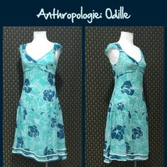Anthro Floral Silk Dress by Odille Old school Anthro.  Silk shell and acetate lining. Side zip, runs a bit big. Very good preloved condition. **  Prices are as listed- Nonnegotiable.  I'm happy to bundle to save shipping costs, but there are no additional discounts.  No trades, paypal or condescending terms of endearment  ** Anthropologie Dresses
