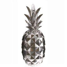 Dekoracja srebrny ANANAS 55 cm - figurka srebrnego ananasa PINEAPPLE - NieMaJakwDomu