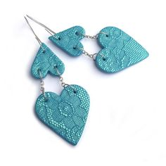 Heart earrings valentine jewelry turquoise earrings by JPwithLove, $25.00