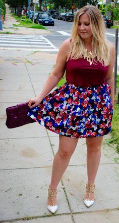 DKnock-off Valentino Rockstud Pumps and floral skirt