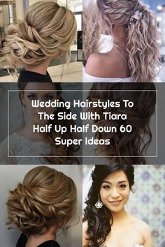 Wedding Hairstyles To The Side With Tiara Half Up Half Down 60 Super Ideas Side Hairstyles, Wedding Hairstyles, Wedding Hair Side, Half Up Half Down, Hair Styles, Ideas, Fashion, Hair Plait Styles, Moda