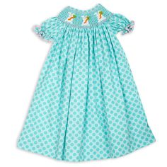 Girls Aqua Dot White Bunnies Smocked Bishop Dress – Lolly Wolly Doodle