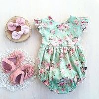 2017 Cute Baby Girls Floral Romper Summer Jumpsuit !!! High quality and Brand new 100% Main Color:
