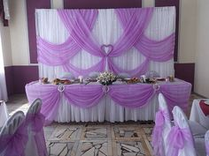 Ideas Wedding Party Table Backdrop Purple For 2019 wedding table Wedding Stage Backdrop, Wedding Ceremony Signs, Wedding Reception Decorations, Wedding Table, Wedding Backdrops, Purple Themes, Backdrop Decorations, Backdrop Ideas, Backdrops For Parties