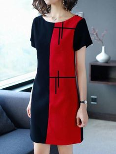 simplicity z d key. Stylish Dresses, Casual Dresses, Fashion Dresses, Short Sleeve Dresses, Kleidung Design, Colorblock Dress, Sewing Clothes, Classy Outfits, Dress Patterns