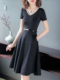 0d4e5999b70 V neck Black A-line Date Casual Short Sleeve Binding Solid Midi Dress